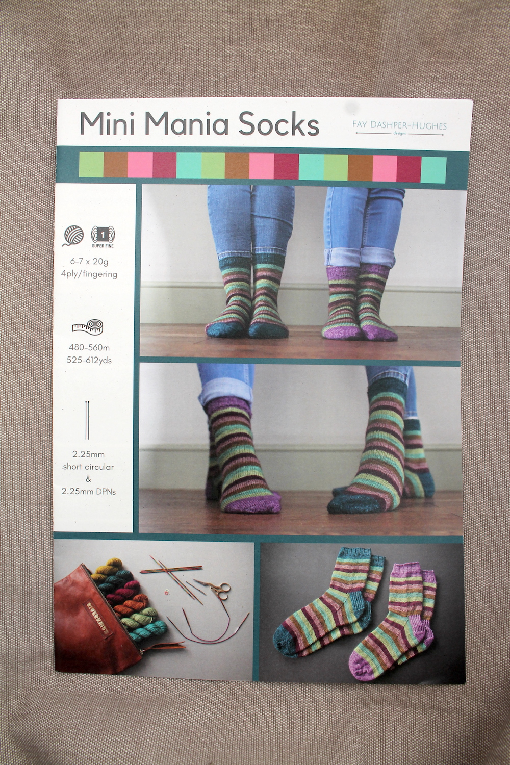 A printed copy of Mini Mania sock knitting pattern