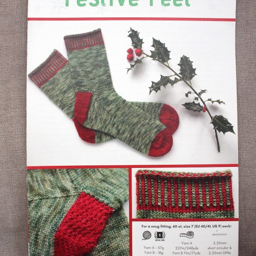 A printed copy of Festive Feet sock knitting pattern