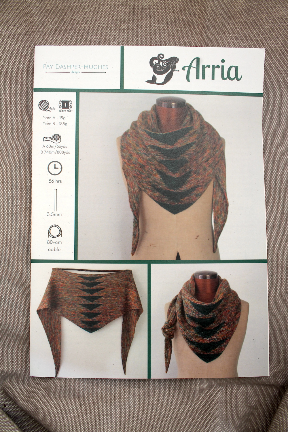 A printed copy of Arria knitting pattern