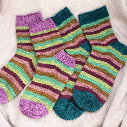 Two pairs of stripy Mini Mania socks