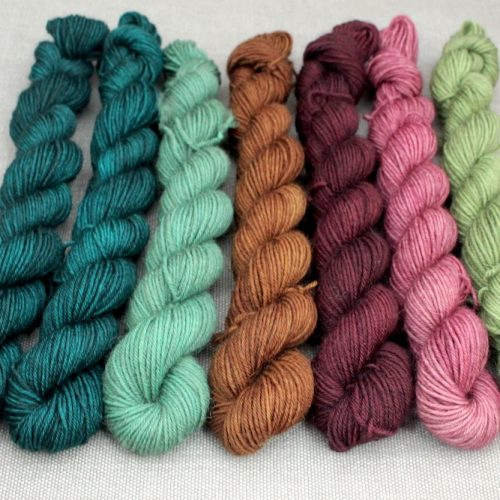 7 mini skeins in greens, browns, and pinks