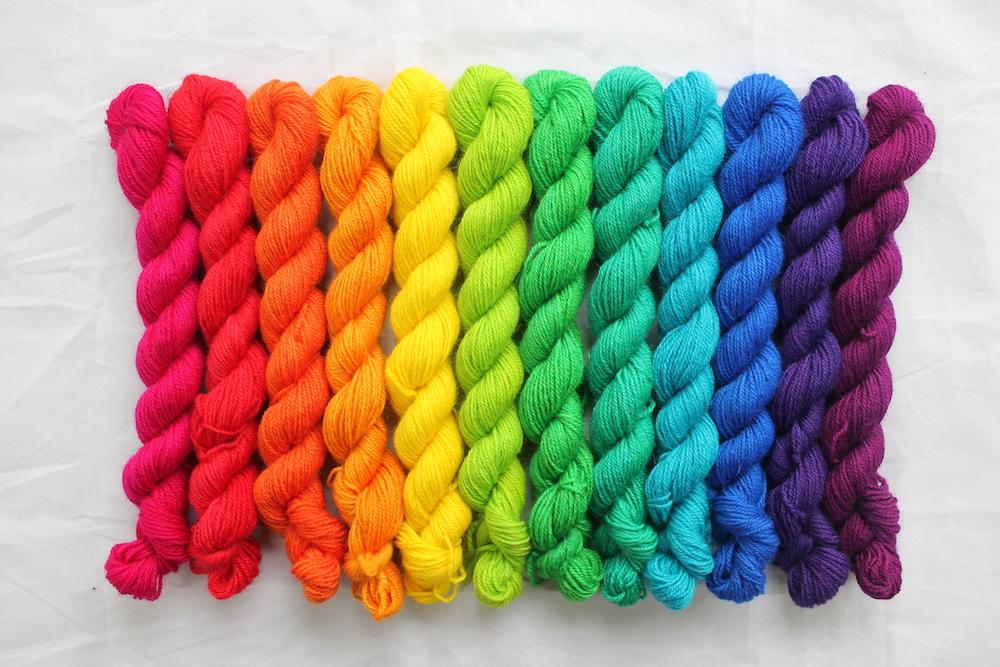 12 mini skeins in a bright rainbow