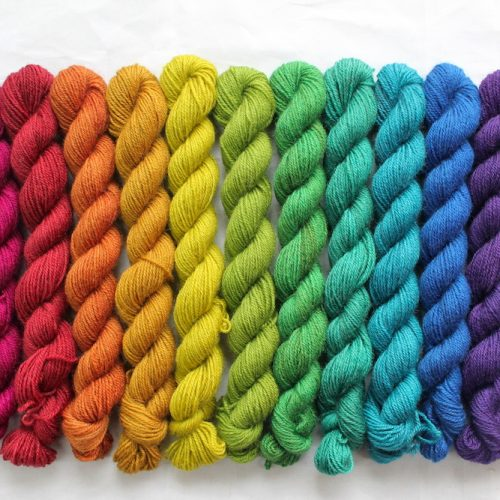 12 mini skeins in a jewel toned rainbow