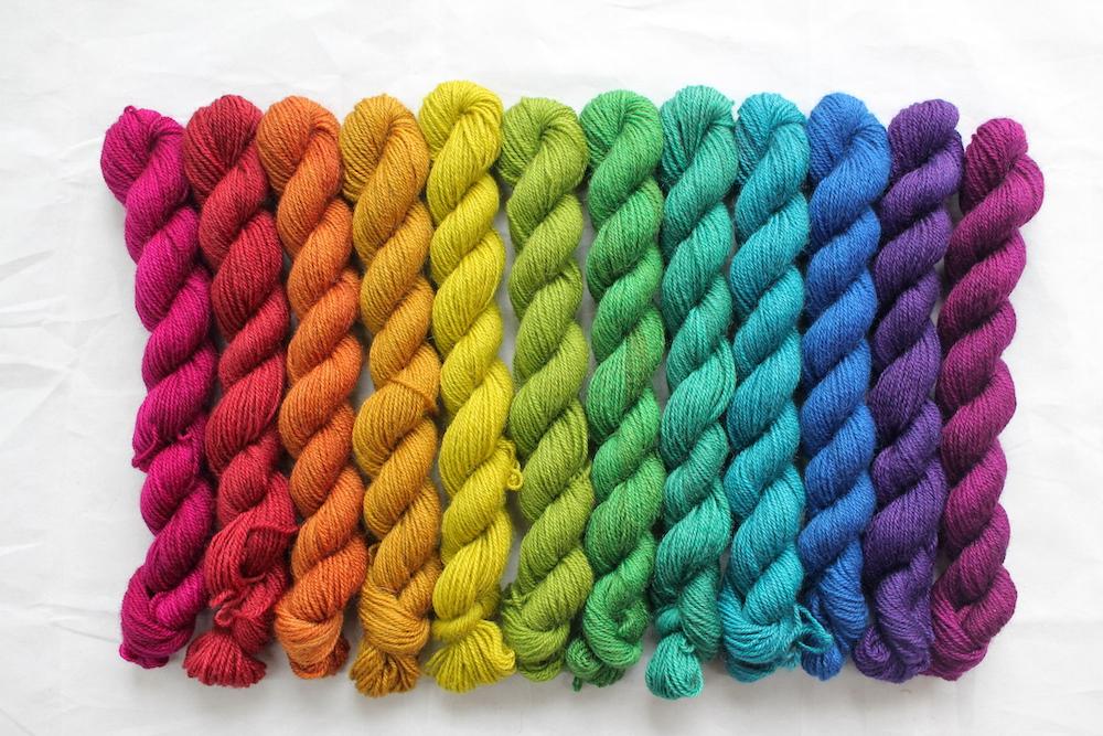 12 mini skeins in a jewel toned rainbow
