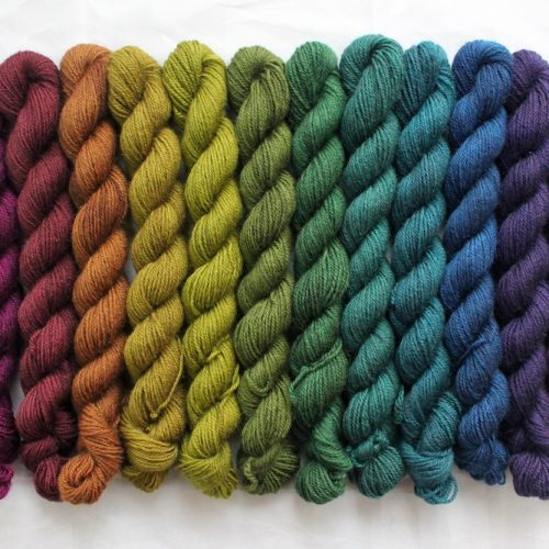 12 mini skeins in a dark toned rainbow