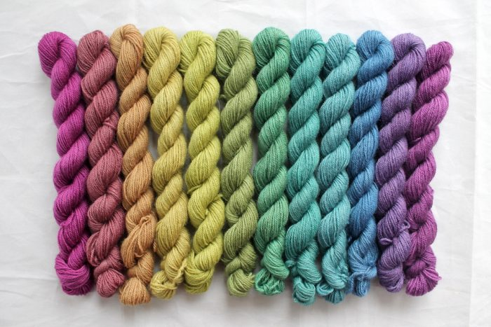 12 mini skeins in a muted rainbow