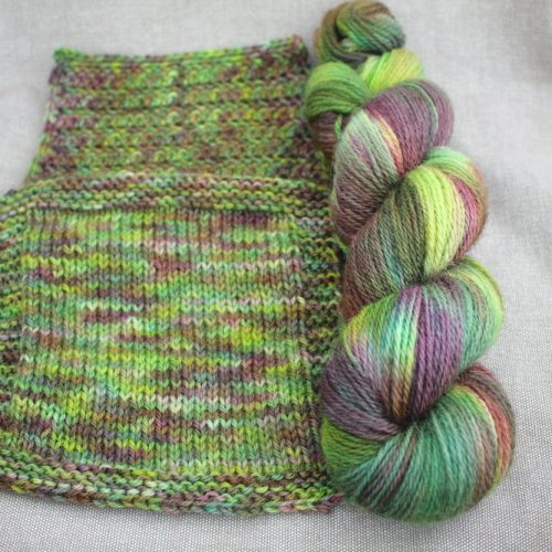 A skein and two swatches of Lyn DK in the Bramble colourway