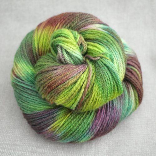 A skein of Lyn DK in the Bramble colourway