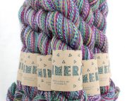 Midwinter colourway in candy cane marled colours of stained glass windows