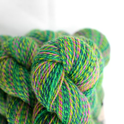 The Rainforest colourway, a marled green with pops of pink