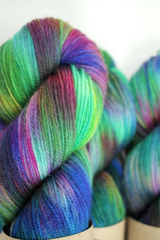 Skeins of Mermaid, a rainbowy highly variegated colourway