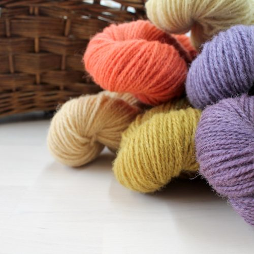 Skeins of naturally dyed Severn