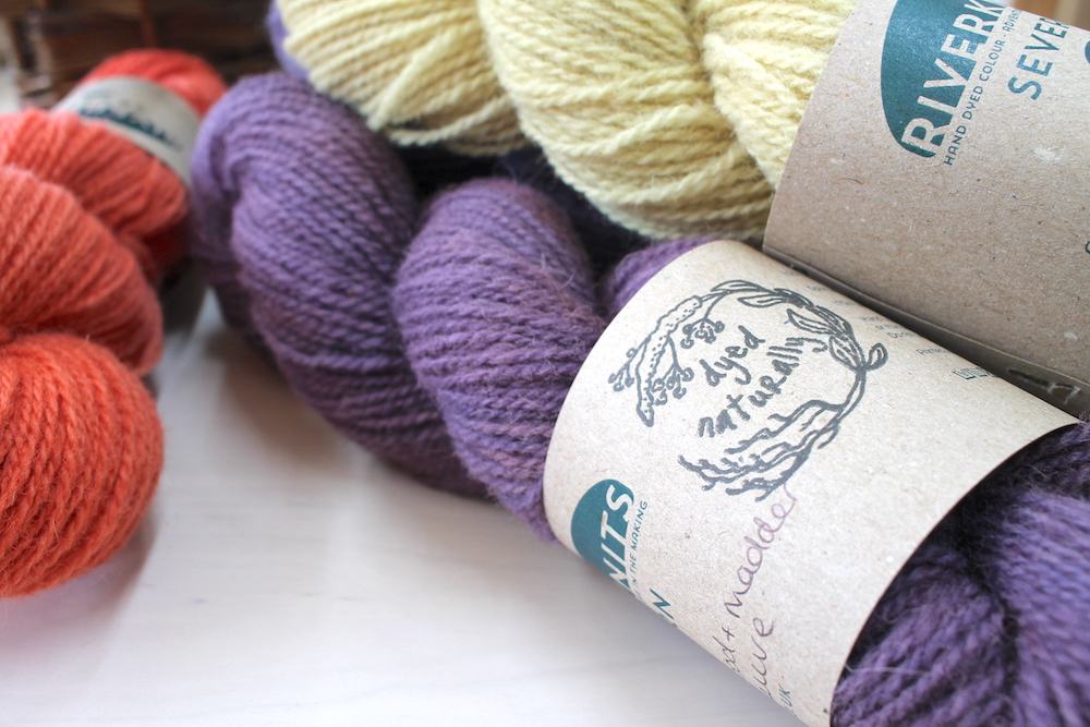 Close up of skeins of naturally dyed Severn