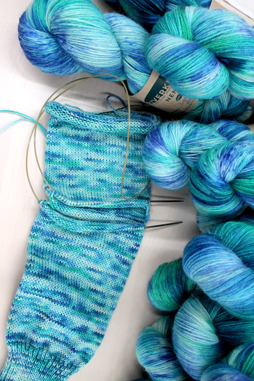 A sock in progress using Laguna de Bacalar