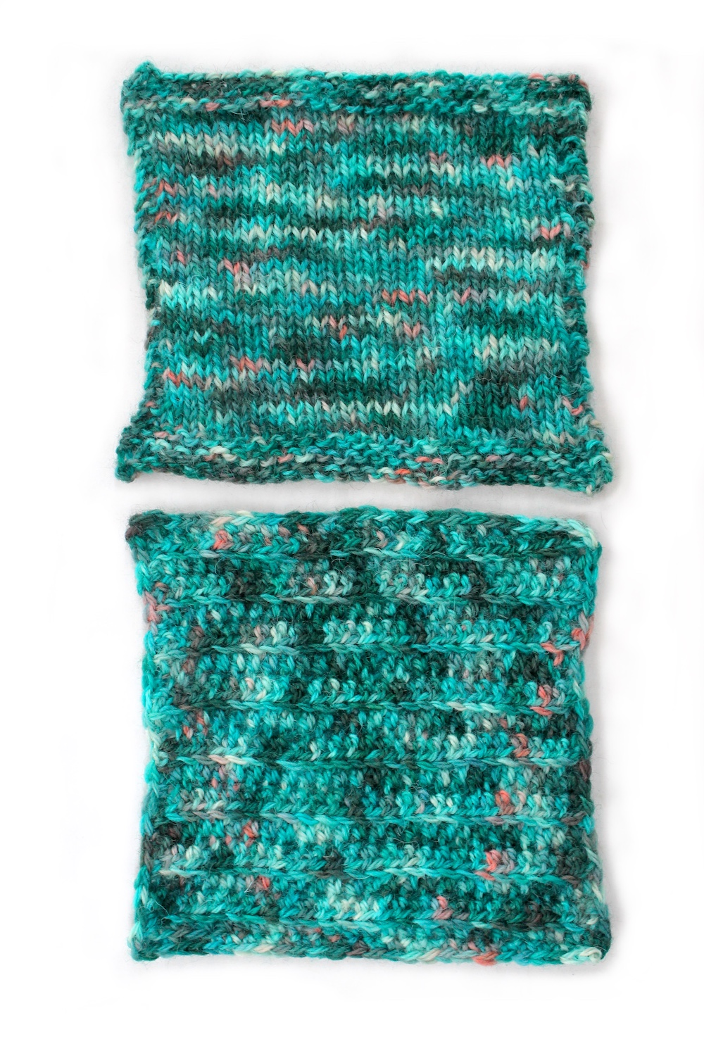 Knit and crochet swatches of the Avalon colourway