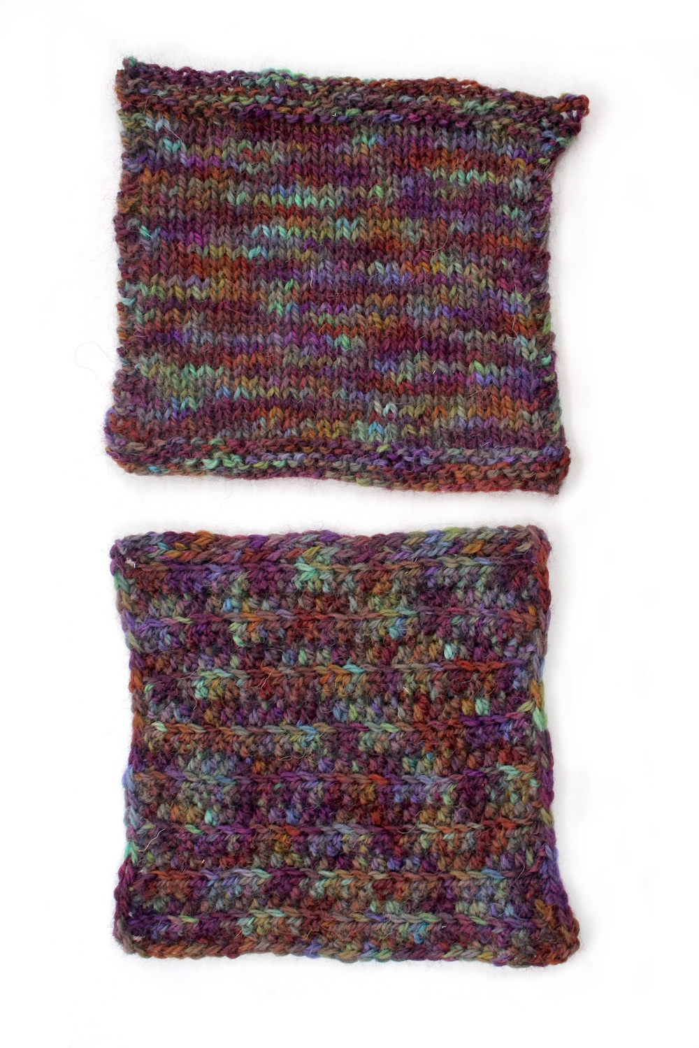 Knit and crochet swatches of the Excalibur colourway