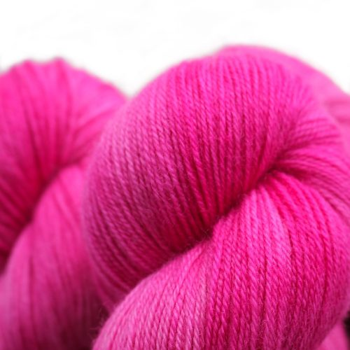 Close up of skeins in a hot pink colour