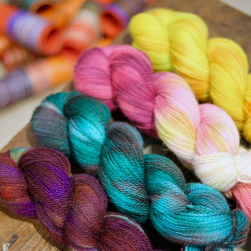 4 skeins in each colourway of hand dyed Appledore
