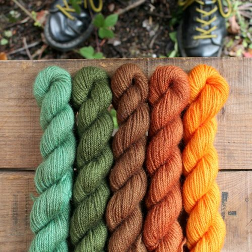 The sunflower mini skein set for Marie Curie