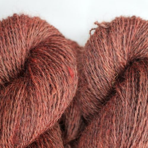Close up of skeins of Northampton Shear Leicester Longwool in the colourway Drayton